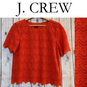 J. CREW Scalloped Lace Blouse